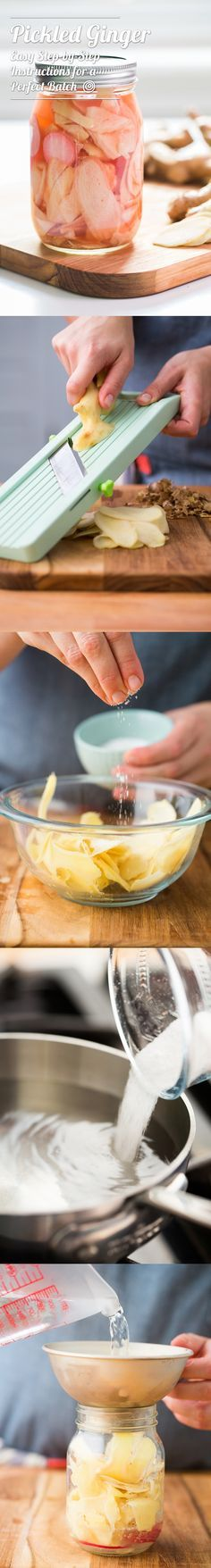 How to make EASY DIY homemade pickled ginger. This delicious recipe is a classic sushi restaurant condiment. Try canning it at home and add it to lemonade!