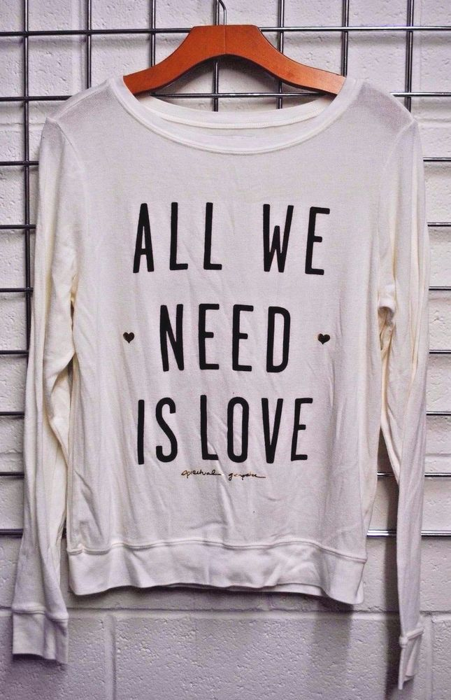 NWOT Spiritual Gangster ALL WE NEED IS LOVE PULLOVER Sweatshirt Soft SMALL #SpiritualGangster #SweatshirtCrew