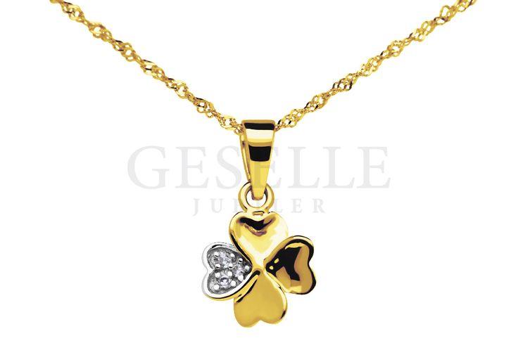 Na szczęście! - urocza zawieszka ze złota w kształcie koniczynki z lśniącym płatkiem   ZŁOTO \ Żółte złoto \ Zawieszki NA PREZENT \ Urodziny NA PREZENT \ Dzień Matki od GESELLE Jubiler