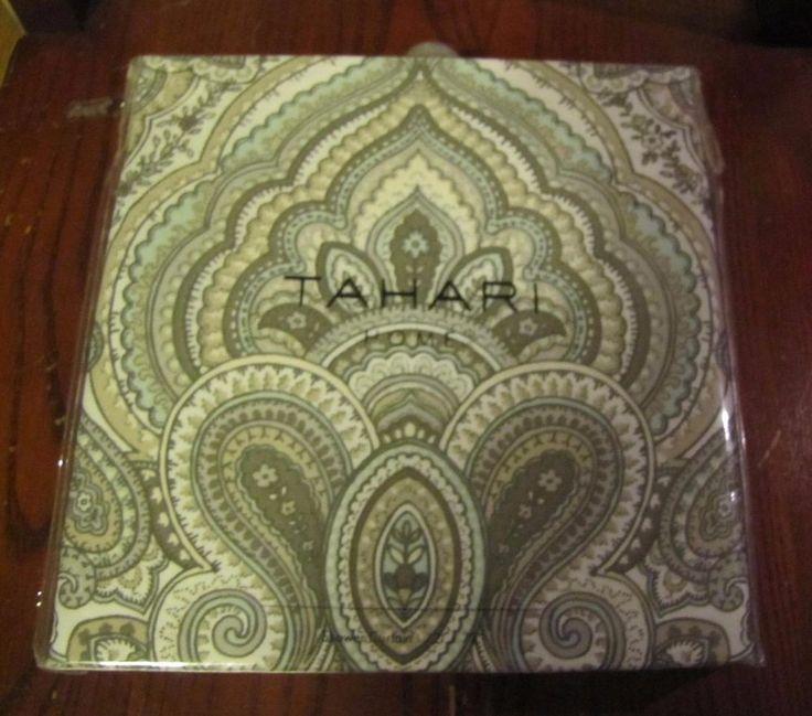 Tahari Home Mackenzie Paisley Medallion Fabric Shower Curtain Aqua Grey Tans Tahari