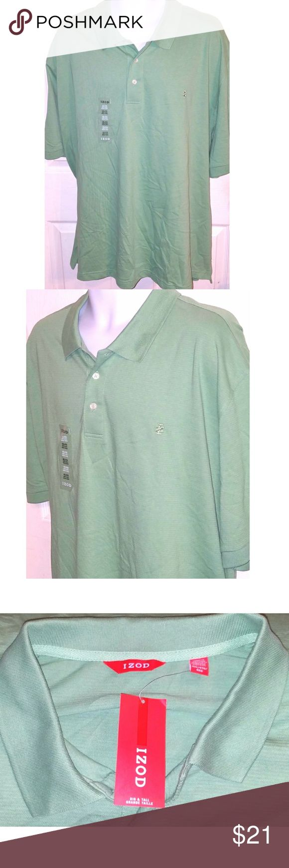 NWT Izod Mens Short Sleeve Polo Shirt 4XL This is a mens 4XL short sleeve polo shirt by Izod. The chest measures 31 inches and the length is 34 inches. Izod Shirts Polos