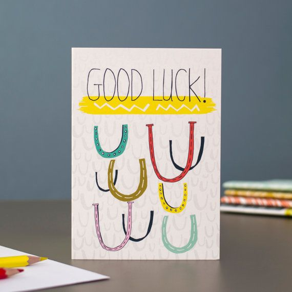Good Luck blank greetings card designed by Jessica Hogarth Designs. Designed and printed in the UK.