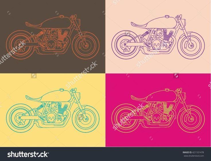 Pop Art Hand Drawn Motorcycle Vector