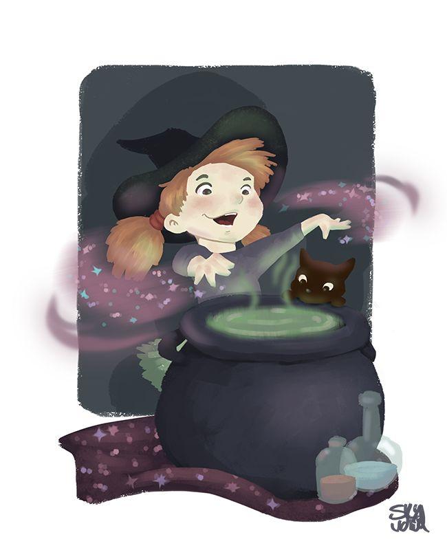 Witchcraft? or playing around   little girl/witch with her cat  kids, children Illustration by S.K.Y. van der Wel