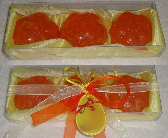 Handmade Gift Set in Yellow Color with 3 small Orange Colour Scented Luxury Soaps, Orange scent, with a special handmade glass decorative
