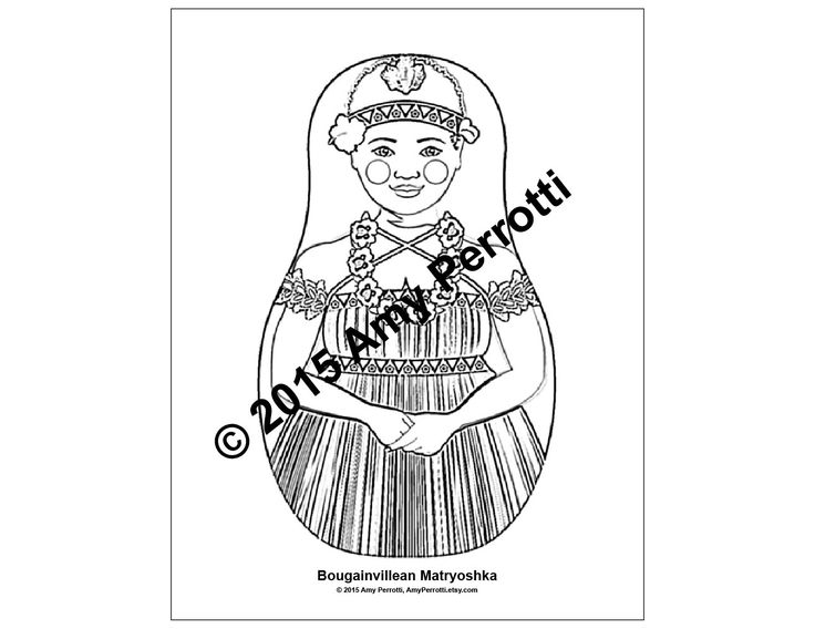 Bougainvillean Matryoshka Coloring sheet PDF by AmyPerrotti on Etsy