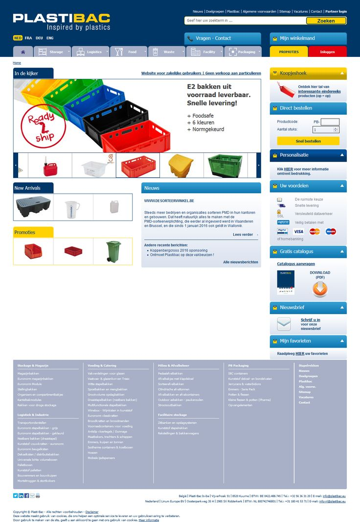 Plastibac. Plastic bakken, containers en plastic pallets. #webshop #IDcreation #website #desig #opmaat