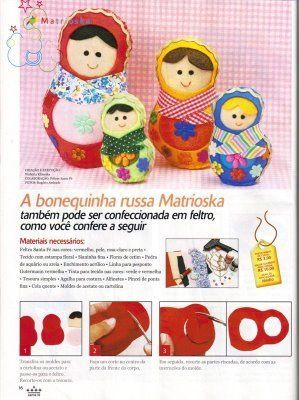 Instructions on how to make a family of abulously cute felt matryoshka dolls.