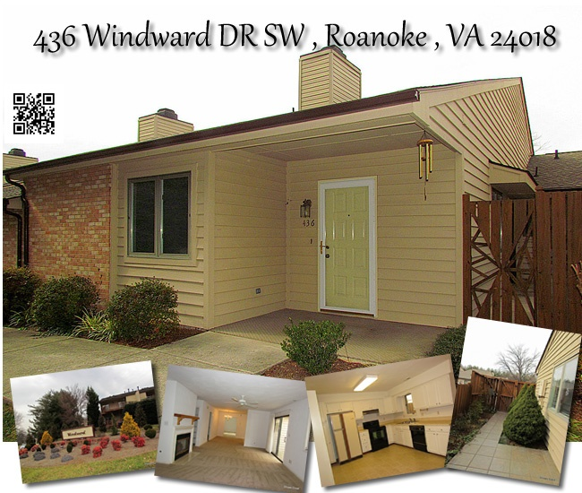 MLS # 778982 -  Offered At $139,950  436 Windward DR SW , Roanoke , VA 24018    Spotless patio style condo home . Very nicely maintained, and priced below competition for quick sale! Den, one car garage, and private patio add to your living pleasure. Nice location close to pool- but not too close! Maintenance free- easy living life style. HOA covers outside maintenance, pool, water/sewer/trash. Call Mary Dykstra @ MKB REALTORS for more details 540-314-1110