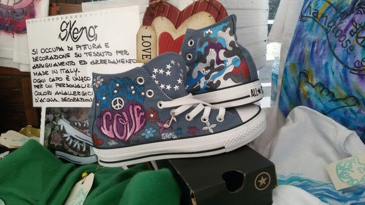 Handpainted shoes and shirts by Skeno