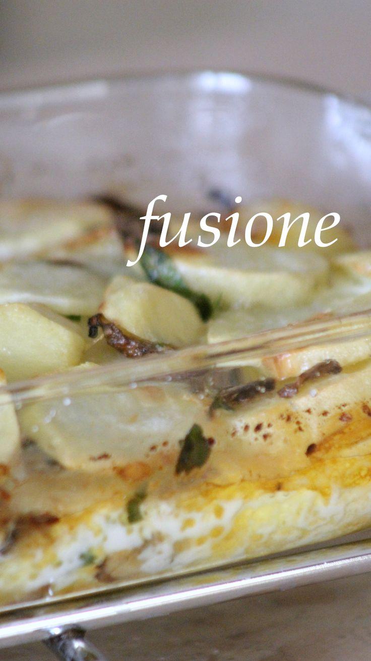 patate al gratin con funghi champignon