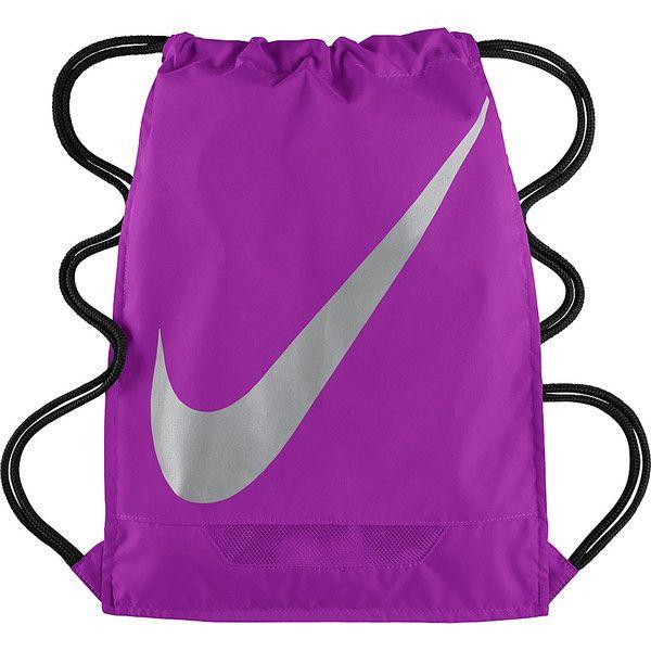 Nike FB 3.0 Gymsack Sack Pack ($18) ❤ liked on Polyvore featuring bags, backpacks, purple, school & day hiking backpacks, backpacks bags, drawstring backpack, nike backpack, knapsack bags e nike bag
