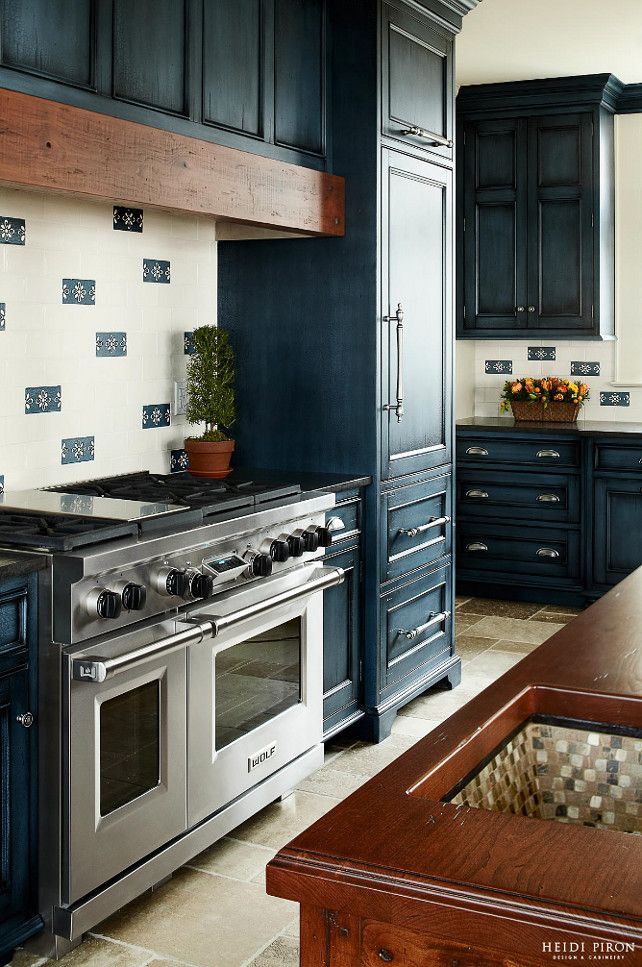 Navy Flat Panel Kitchen Cabinet