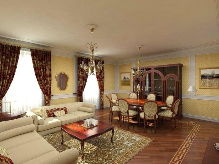 Wohnzimmer Einrichten Ideen Im Klassischen Stil Mit Wandgestaltung In Gelb Und Langen Gardinen