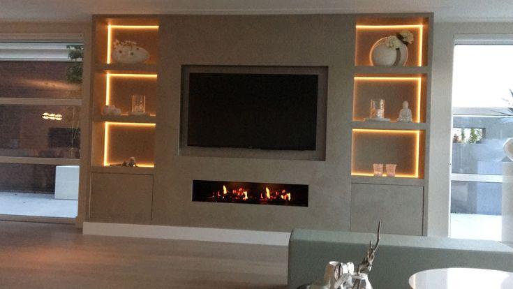 Fluweel gouden meubel kast met open haard,tv,mediasysteem en licht [JB]