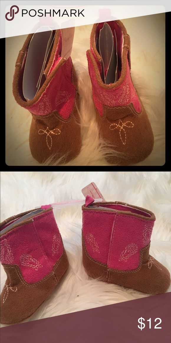 Baby Girl Brown and Pink Cowgirl Boots Size 2 brown, pink top Cowgirl Boots. NWT Shoes Baby & Walker