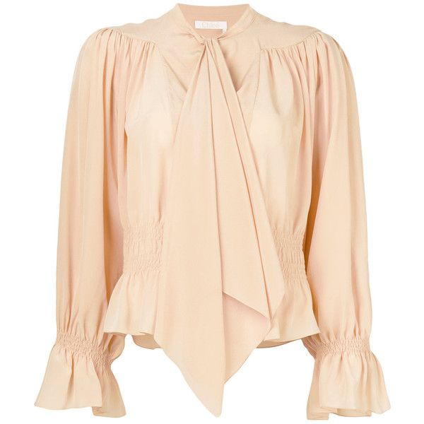 Chlo? Pink Silk Blouse ($1,395) ❤ liked on Polyvore featuring tops, blouses, pink, smock blouse, pink top, beige top, banded waist tops and smock top
