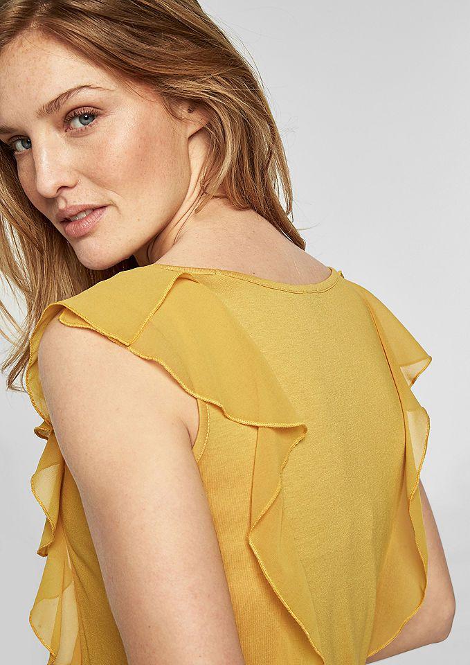 a67ea6fc9717d2 s.Oliver BLACK LABEL Top mit Chiffon-Volants Damenmode in der Trendfarbe  Gelb. Egal, ob gelbes Top, gelbes T-Shirt, gelbes Kleid, …