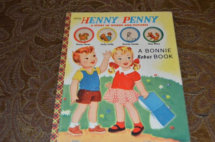 """Rare 1953 Bonnie Rebus Book """"HENNY PENNY"""" A Story in words & pictures vintage"""