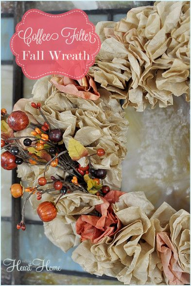 coffee filter wreath for fall decor