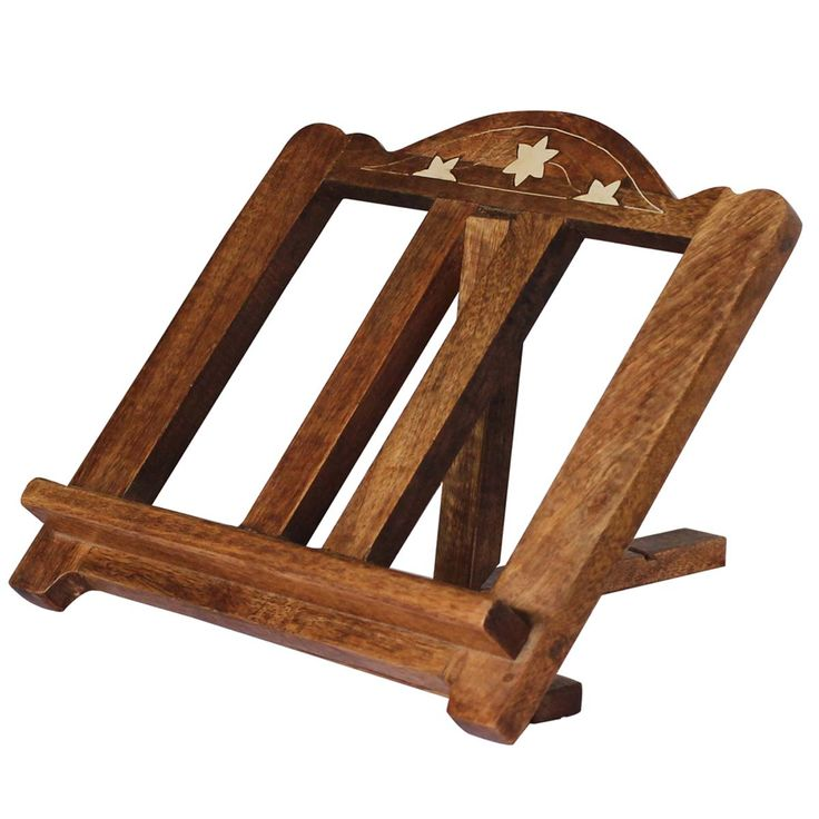 Bulk Wholesale Handmade Mango-Wood Book Stand / Organizer in Brown – Antique-Look Book Holders with Traditional Style Carving and Acrylic Inlay Work
