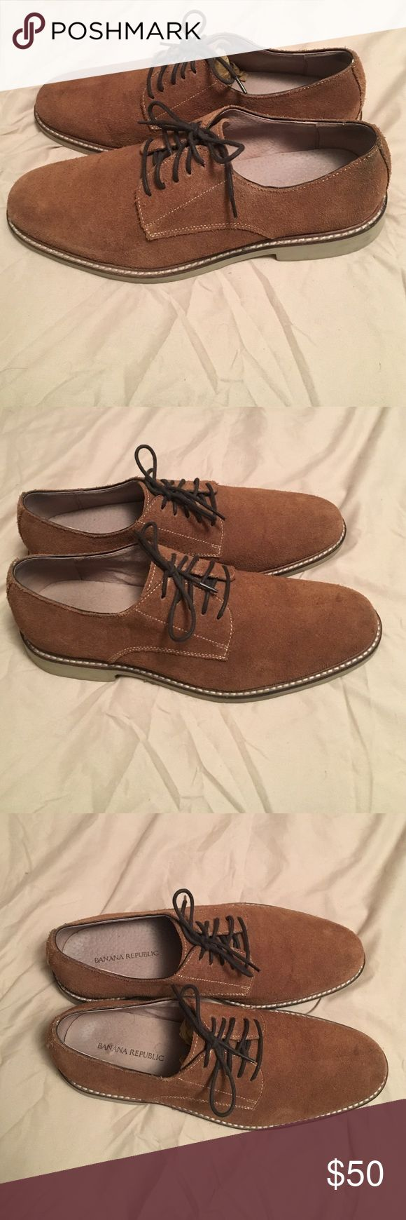 Tan Suede Shoes from Banana Republic Tan Suede Shoes from Banana Republic, size 9, lightly worn.. maybe 5 times max. Good condition. Too many shoes and wanting to get rid of anything I have two of. Banana Republic Shoes Oxfords & Derbys