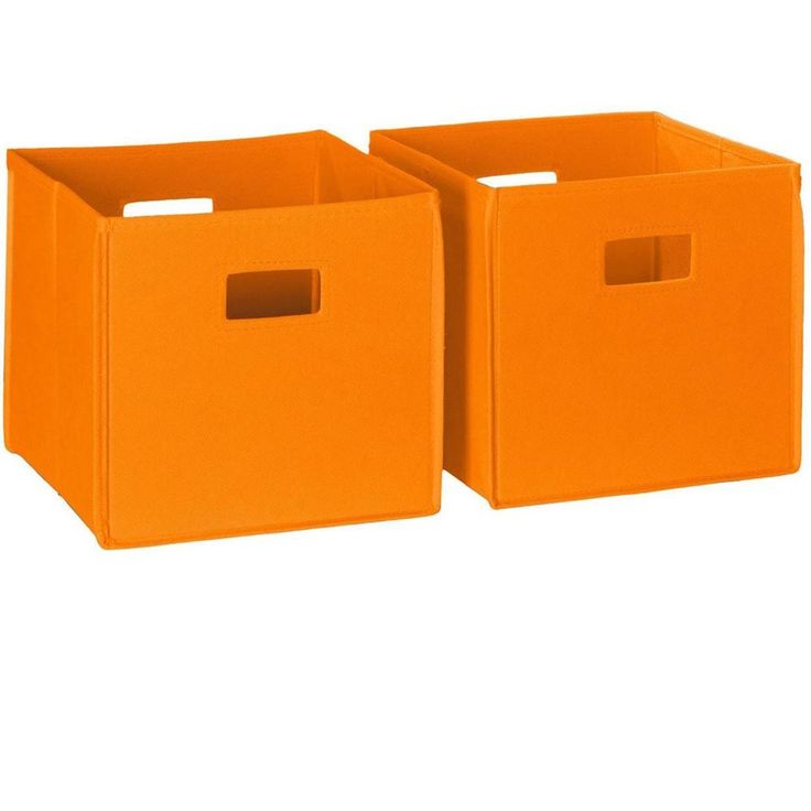 Foldable Storage Cube Unit Bin Box Organizer Collapsible Folding Orange Drawer  #Unbraded
