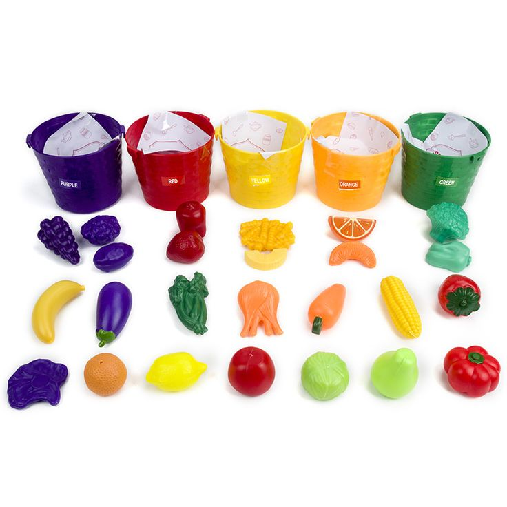 Miniature Kitchen Set Simulation Food Toy Five Sorting Buckets Kids Color Recognition Puzzle Learning Toys For Children 50Pcs