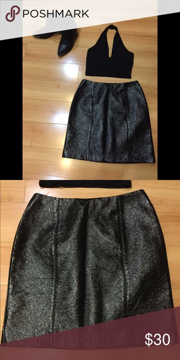 Sexy Leather Look Skirt Brand new leather look skirt. Easy to dress up or dress down. 100% Polyester . Skirts Mini