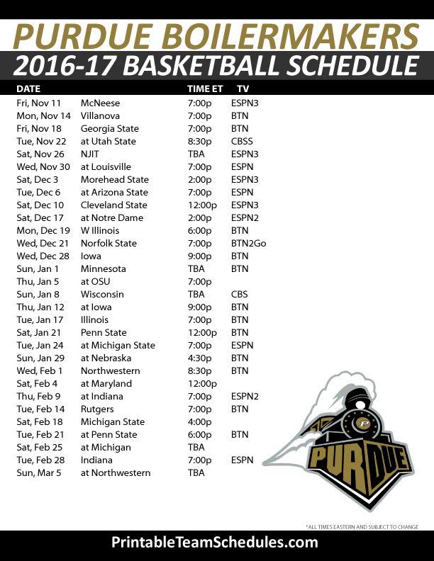 Purdue Boilermakers Basketball Schedule 2016-17.  Print Here - http://printableteamschedules.com/NCAA/purdueboilermakersbasketball.php