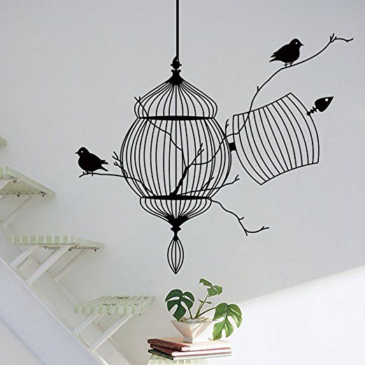 Bluecookies Birds Cage Wall Decal Removable Vinyl Stickers Art Mural for Bedroom Living Room Home Decor