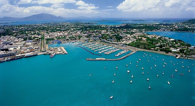 This is a picture of The New Caledonian capital of Noumea. Noumea is the largest city in the South Pacific with a population of about 100,000.