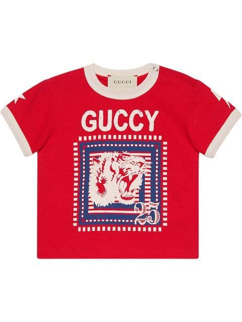 750341c6c Gucci Kids Baby T-shirt With Guccy Print in 2019 | חורף 2020 | Gucci ...