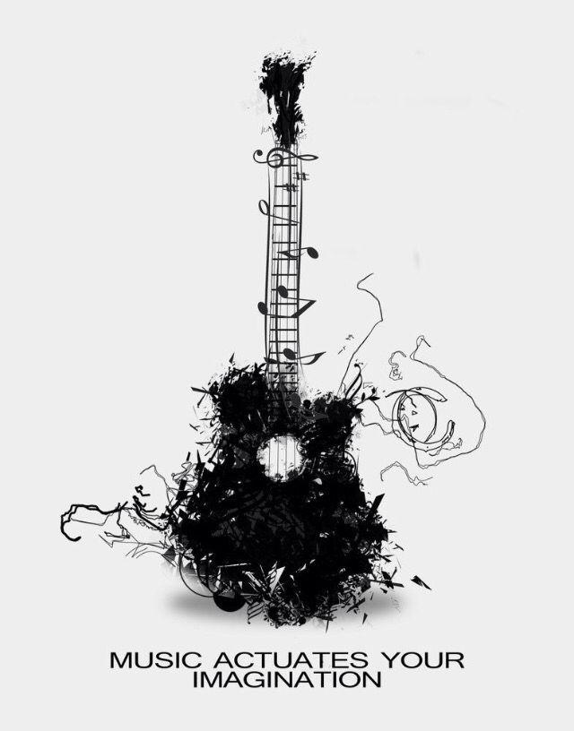 Guitar Creative  Design  Art  Black and white  Mono
