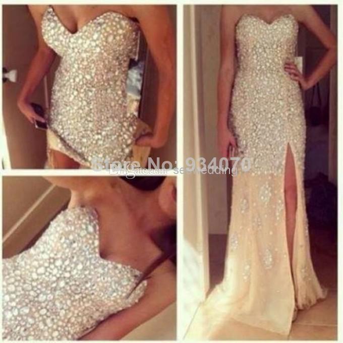 scoop cap sleeves split front crystals long evening dress prom dresses hot