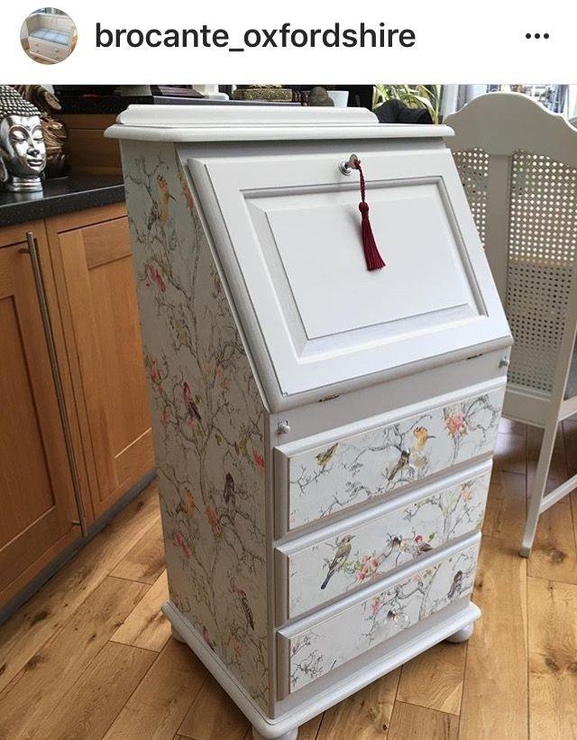 Decoupaged Bureau | #DecoupagedFurniture | #UpcycledFurniture | Upcycled Furniture