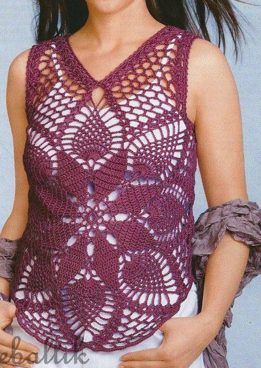 Cotton Seethrough Crochet Summer Top Made to order by DearAlina, $79.00
