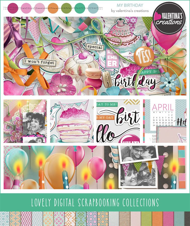 """New Planner Collection: """"My Birthday"""" is a huge colorful collection to decorate your layouts with the pics you've taken during a party!"""