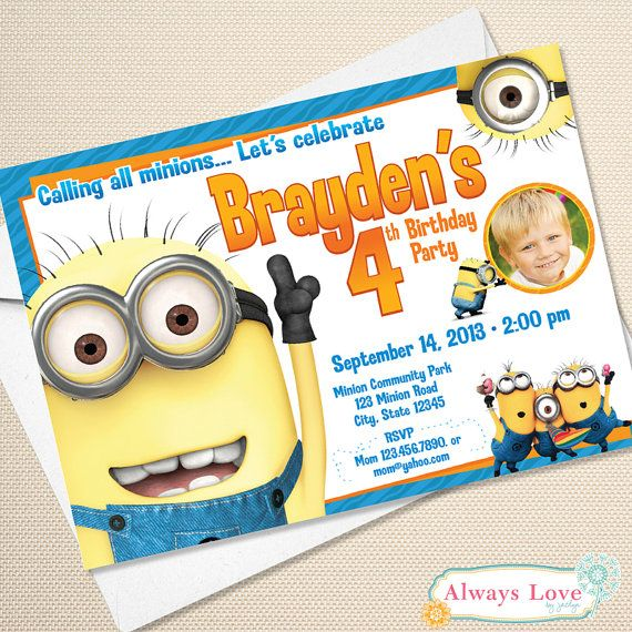 Printable Minion Birthday Invitation - Digital File on Etsy, $11.88 AUD