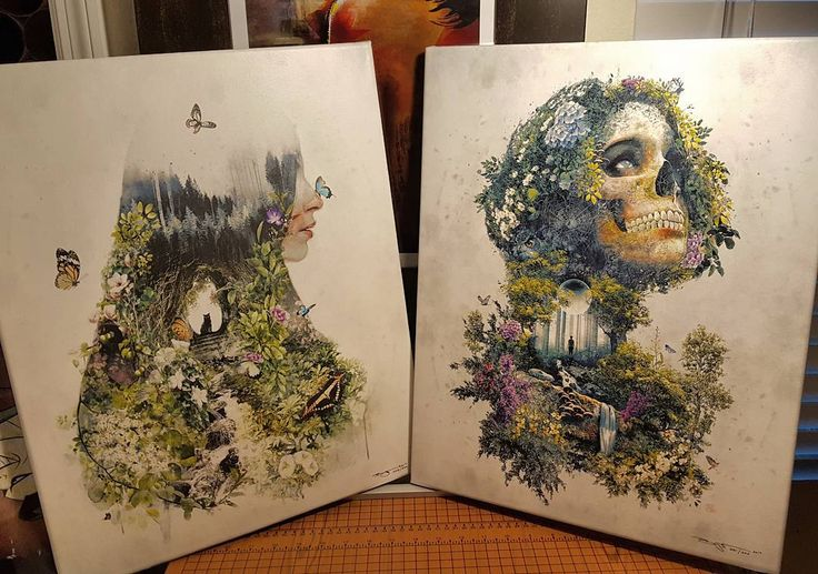 These 2 stretched canvases of my #originalart #Original #art #design in my #nature #surrealism series headed to @thefalconbar #artlando popup gallery at the #Orlando Museum of Art this Saturday 12pm. #photoshop #photo #photography #artist #etsy #etsyshop #indie #artwork #wallart designer #skull #cat #forest #garden #surreal #tattoo #plants #flowers #contemporaryart
