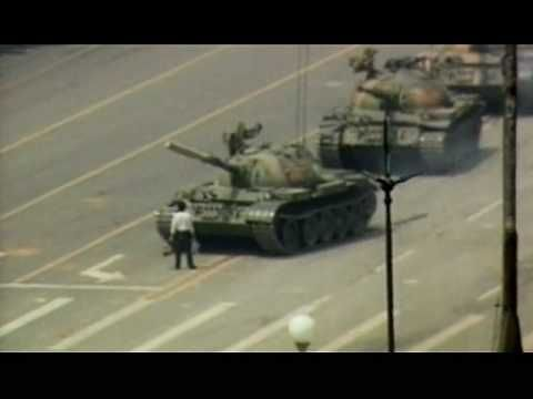Tank Man (now with more raw footage).  The man who temporarily stopped the tanks heading to China's Tiananmen Square on June 5, 1989.  The tanks went on to the square and killed thousands of unarmed students peacefully protesting.