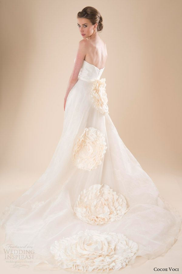 cocoe voci wedding dresses spring 2014 aria strapless gown back handpainted flowers