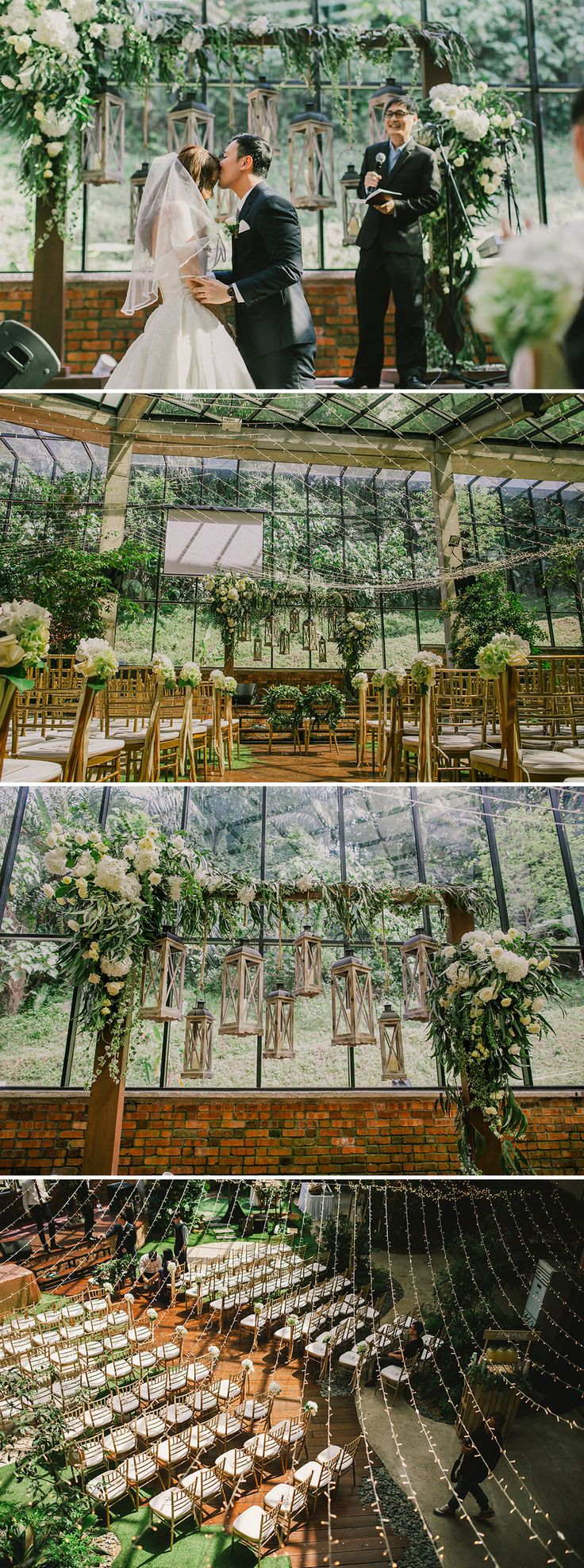 Beautifully-decorated white and green indoor garden themed wedding at The Glasshouse at Seputeh with fairy lights, golden chairs and stunning rustic wedding arch // Ask anyone who lives in the tropics and they'll tell you that having a wedding outdoors is a bad idea. Today's featured couple, however, managed to marry the best of indoor and outdoor weddings by hosting their nuptials at Glasshouse at Seputeh. Chris and Sher-Lynn's garden-themed Malaysia wedding in Kuala Lumpur was shot by…