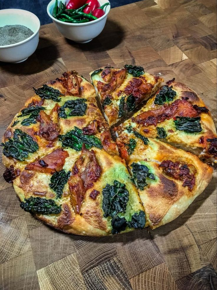 Harissa Aubergine + Kale Pizza - Wicked Healthy