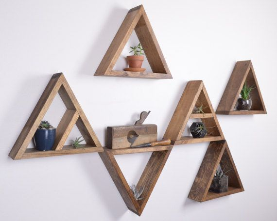 "Set of 6 Triangle Shelves | GRAINandGRIT // 12.5"" x 10.5"" x 3.5"". 2 of the 6 have shelves"