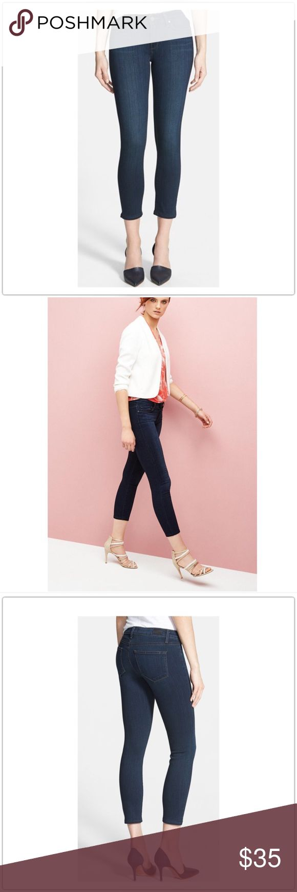 Paige Vedugo Crop Jeans 26 Paige Dark wash, factory whiskered Crop skinny Jeans. Color is called Cameron. Size 26. Quite a bit of stretch in fabric. You can see some pulling in fabric where the factory whiskering is. Look wonderful on!! Can not see any defect while wearing. Paige Jeans Jeans