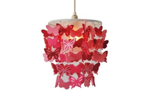 SOSPENSIONE FARFALLE ROSA.           Lampadario a sospensione con struttura in metallo e pendenti a forma di farfalle di colore in tessuto pannolenci.