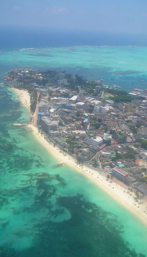 San Andres, Colombia, from the air…