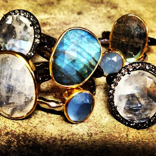 Another gorgeous stack of rings... labradorite, topaz, opal, moonstone and more... handcrafted in California always! We love the way these look like the smooth surface of a summer lake throughout the stages of lights throughout the day. So serene...