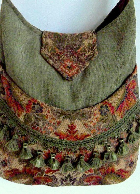 Tapestry Fringe Bag Messenger Bag Bohemian Green Gypsy bag